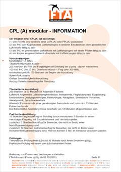 Ausbildung Berufspilotenlizenz CPL(A) Rhein Main Gebiet Unterfranken