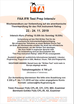 FAA IFR Test Prep Intensiv 22. - 24.11.2019