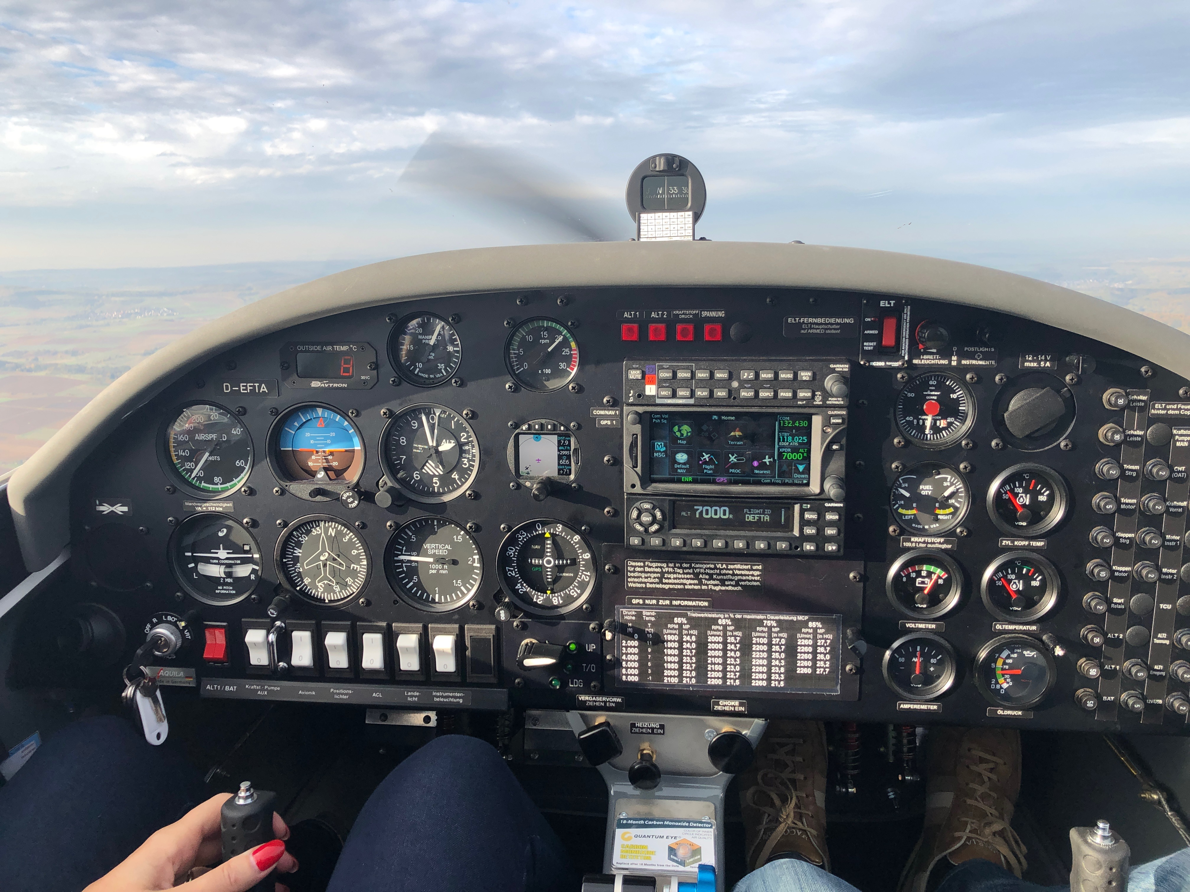 Fliegen Lernen Cockpit im Flug