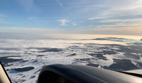 Flug im Winter