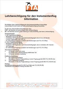 Lehrberechtigung Instrumentenflug FI-IR, IRI Ausbildung Rhein Main Gebiet Unterfranken