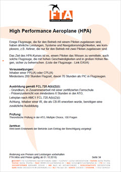 Ausbildung High Performance Aircraft HPA Rhein Main Gebiet Unterfranken