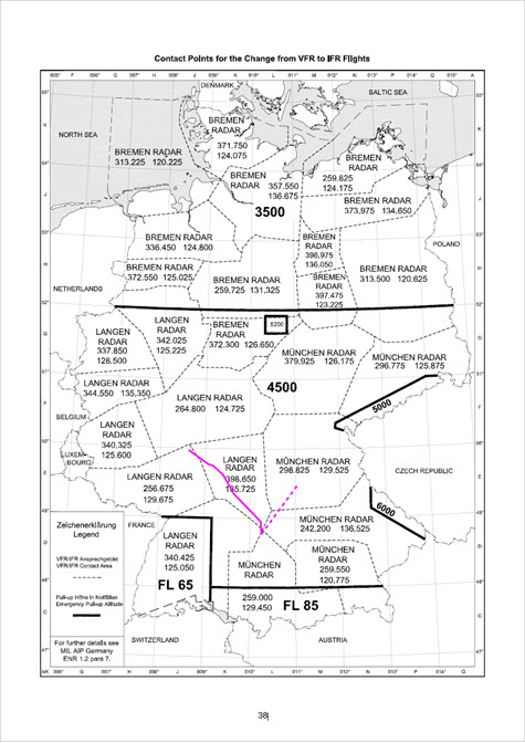 IFR Ausbildung Autorouter VFR to IFR Contact Points