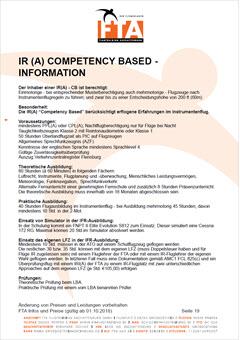 Ausbildung Instrumentenflugberechtigung Competetcy based-IR CB-IR Rhein Main Gebiet Unterfranken