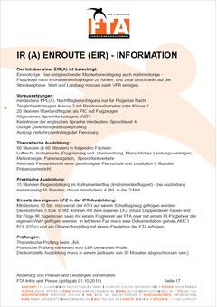 Ausbildung Instrumentenflugberechtigung Enroute-IR EIR Rhein Main Gebiet Unterfranken