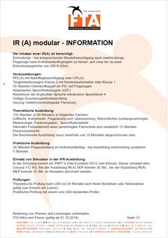Ausbildung Instrumentenflugberechtigung IR Rhein Main Gebiet Unterfranken