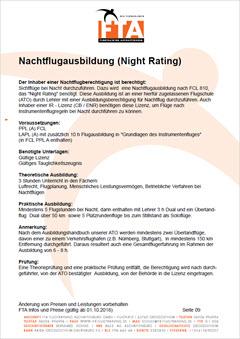 Ausbildung Nachtflug NVFR Rhein Main Gebiet Unterfranken