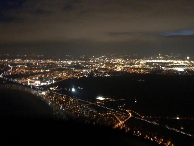 Nachtflugausbildung Lichter von oben