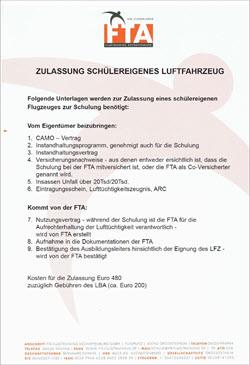 Zulassung schülereigenes Flugzeug Info